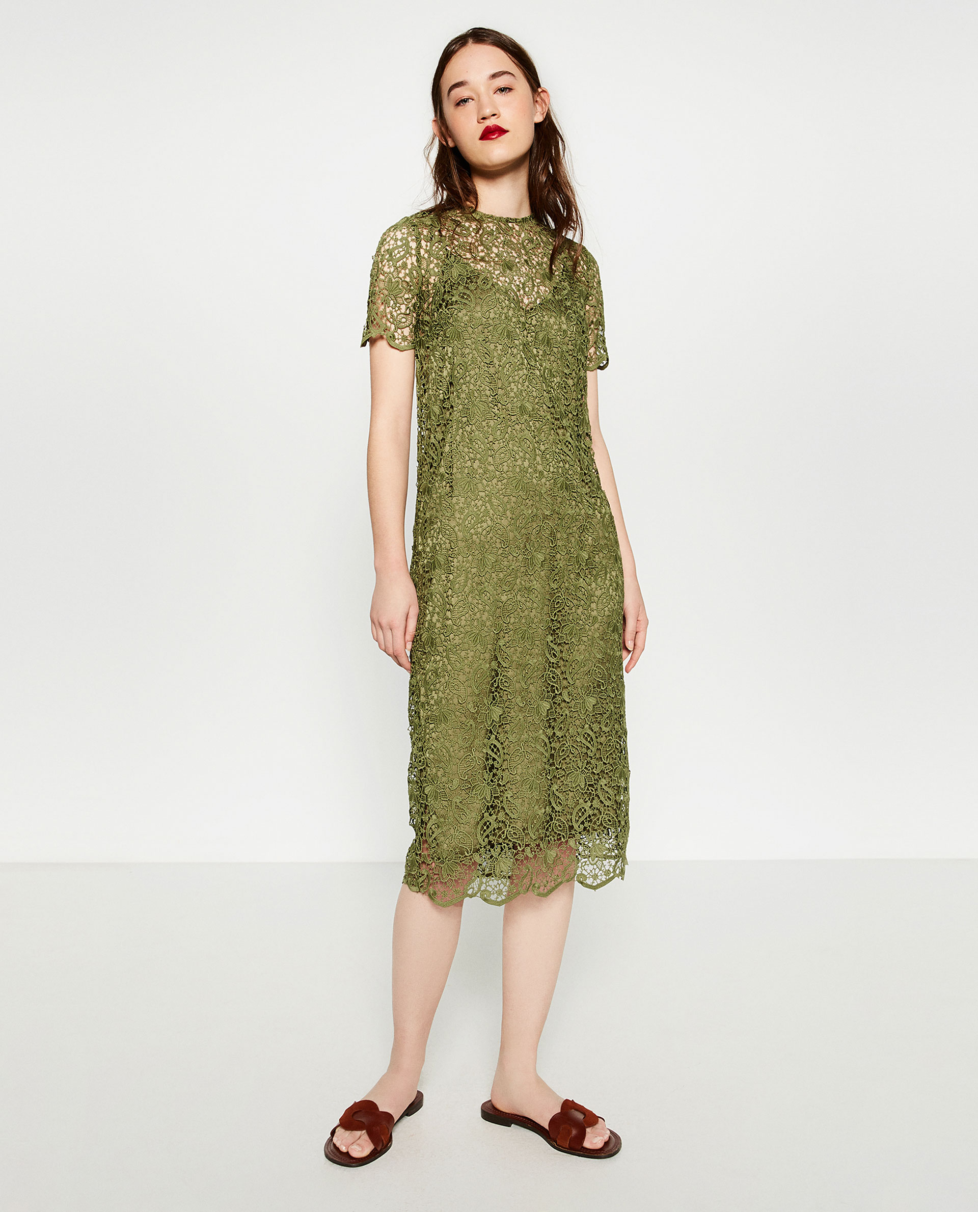 da8d416bafc Zara Lace Midi Dress